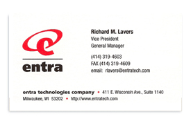 Entra Technologies business card.