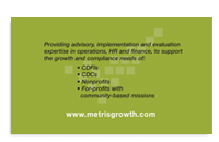 Metris Growth Partners business card back.