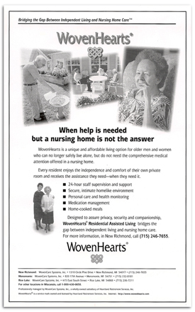 WovenHEarts Assisted Living newspaper ad.